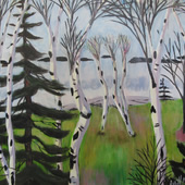 Dancing Birches  (framed in wood with gold leaf) - $3800.00