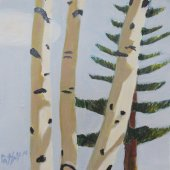 Friendship Birches III (framed in wood with golf leaf) - $2500.00